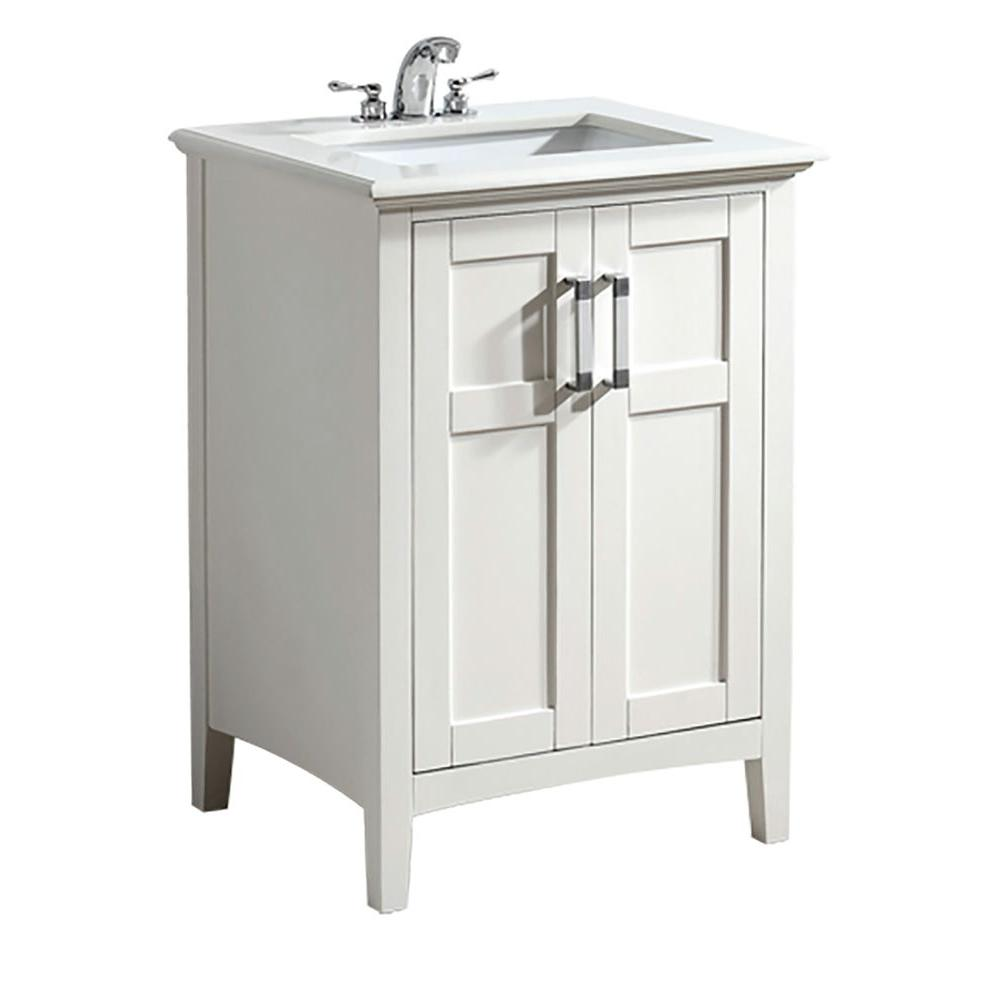 Simpli Home Winston 24 In. Vanity In Soft White With Quartz Marble Vanity  Top In White NL WINSTON WH 24 2A   The Home Depot