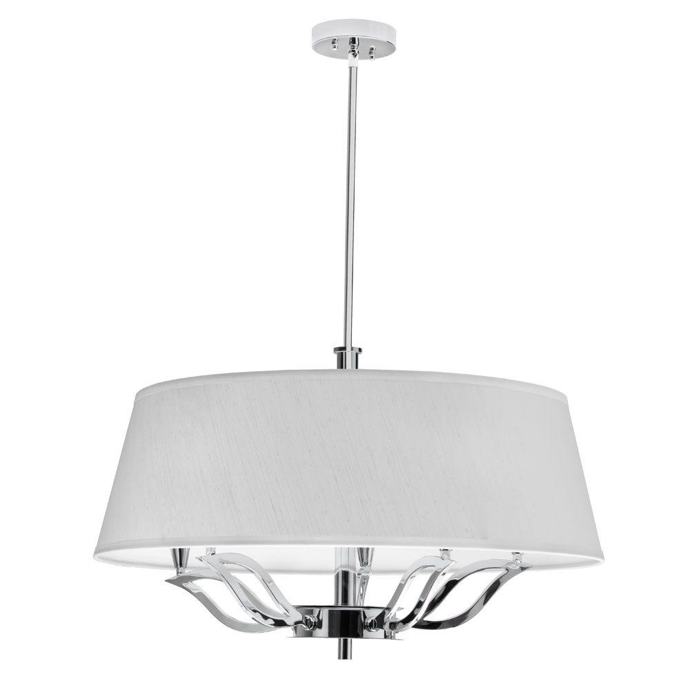 Radionic Hi Tech Lotus 5-Light Polished Chrome Chandelier with Ivory Shade