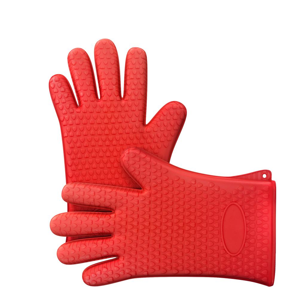 Silicone Red Oven Mitts
