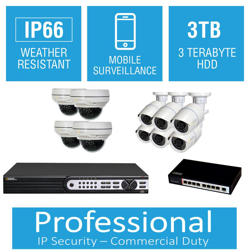 Q-SEE 16-Channel 4MP 3TB Full HD IP Surveillance System with (6) 3MP Bullet Cameras and (4) 4MP Dome Cameras