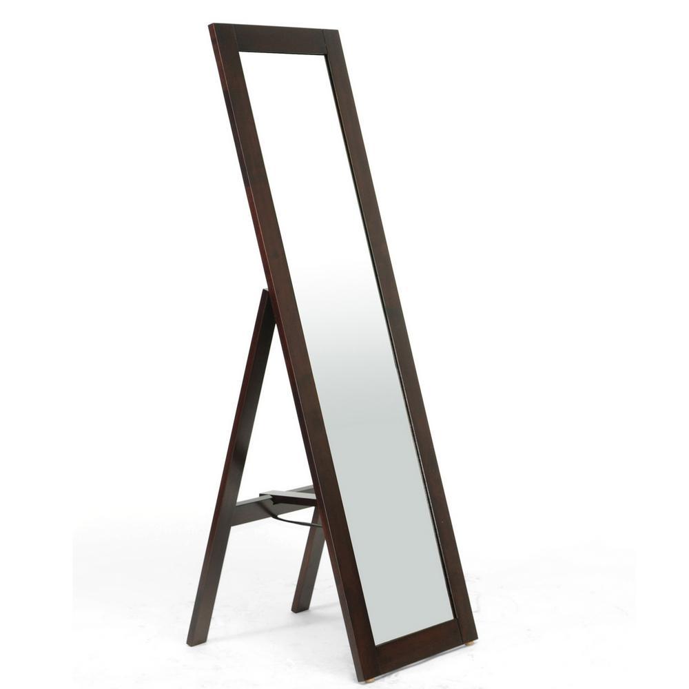 Lund Contemporary Dark Brown Wood Finished Floor Mirror