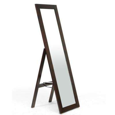 Lund Contemporary Dark Brown Wood Finished Floor Mirror
