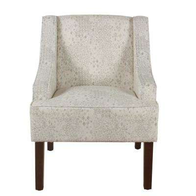 Distressed Cream and Gray Vintage Stencil Classic Swoop Arm Accent Chair