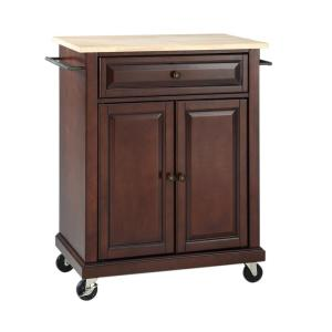 Rolling Mahogany Kitchen Cart with Natural Top