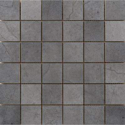 St. Moritz Ii Gray 11.73 in. x 11.73 in. x 8mm Porcelain Mesh-Mounted Mosaic Tile