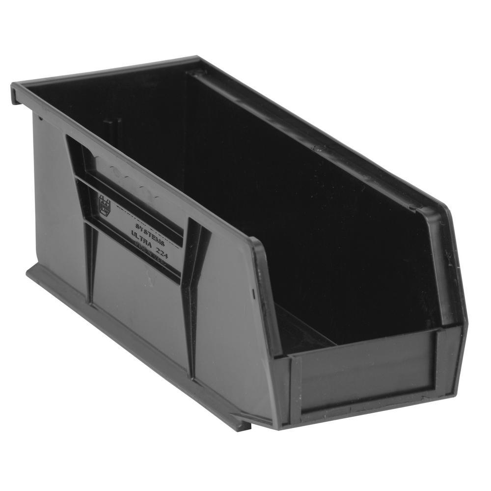 Ultra Series Stack and Hang 3.6 Gal. Storage Bin in Black (12-Pack)