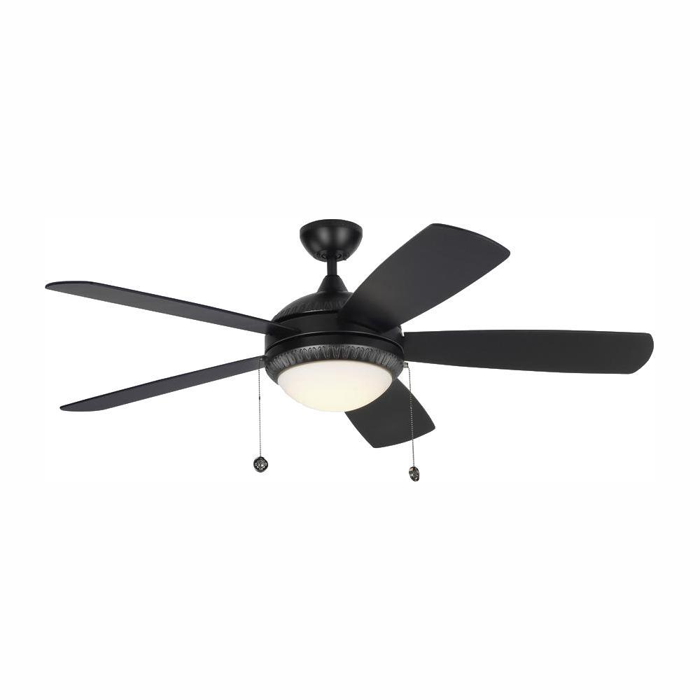 Discus Ornate 52 in. LED Indoor Matte Black Ceiling Fan