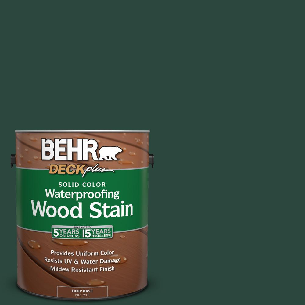 Behr deckplus 1 gal sc 114 mountain spruce solid color for Exterior solid color wood stain