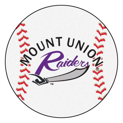 NCAA University of Mount Union White 2 ft. 3 in. x 2 ft. 3 in. Round Accent Rug