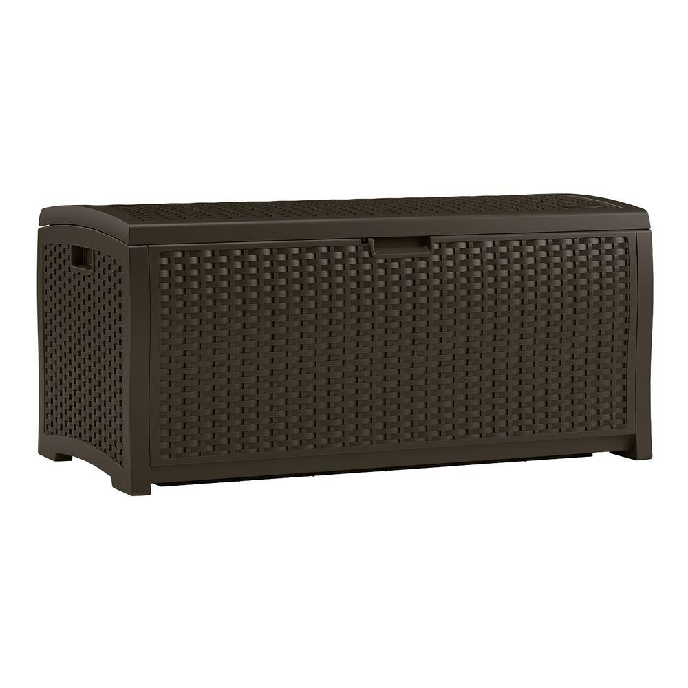 Wicker 73 Gal. Resin Deck Box, Java