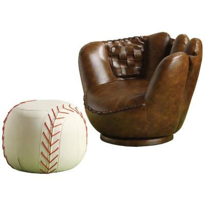 Brown and White leather Baseball Glove Chair and Ottoman