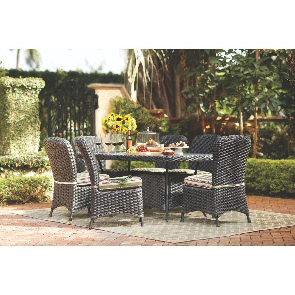 Martha Stewart Living Lake Adela Charcoal 7-Piece Patio Dining Set with Stripe Cushions