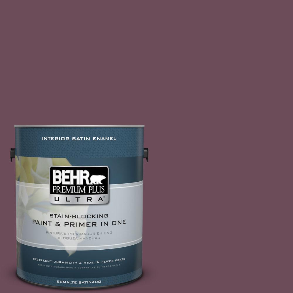BEHR Premium Plus Ultra 1-Gal. #PPU1-20 Spiced Plum Satin Enamel Interior Paint