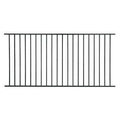 Pro Series 3.6 ft. x 7.75 ft. Black Galvanized Steel Fixed Flush Top Fence Panel