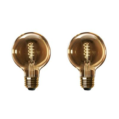 60-Watt Equivalent G40 Dimmable LED Amber Glass Vintage Edison Light Bulb with Spiral Filament Warm White (2-Pack)