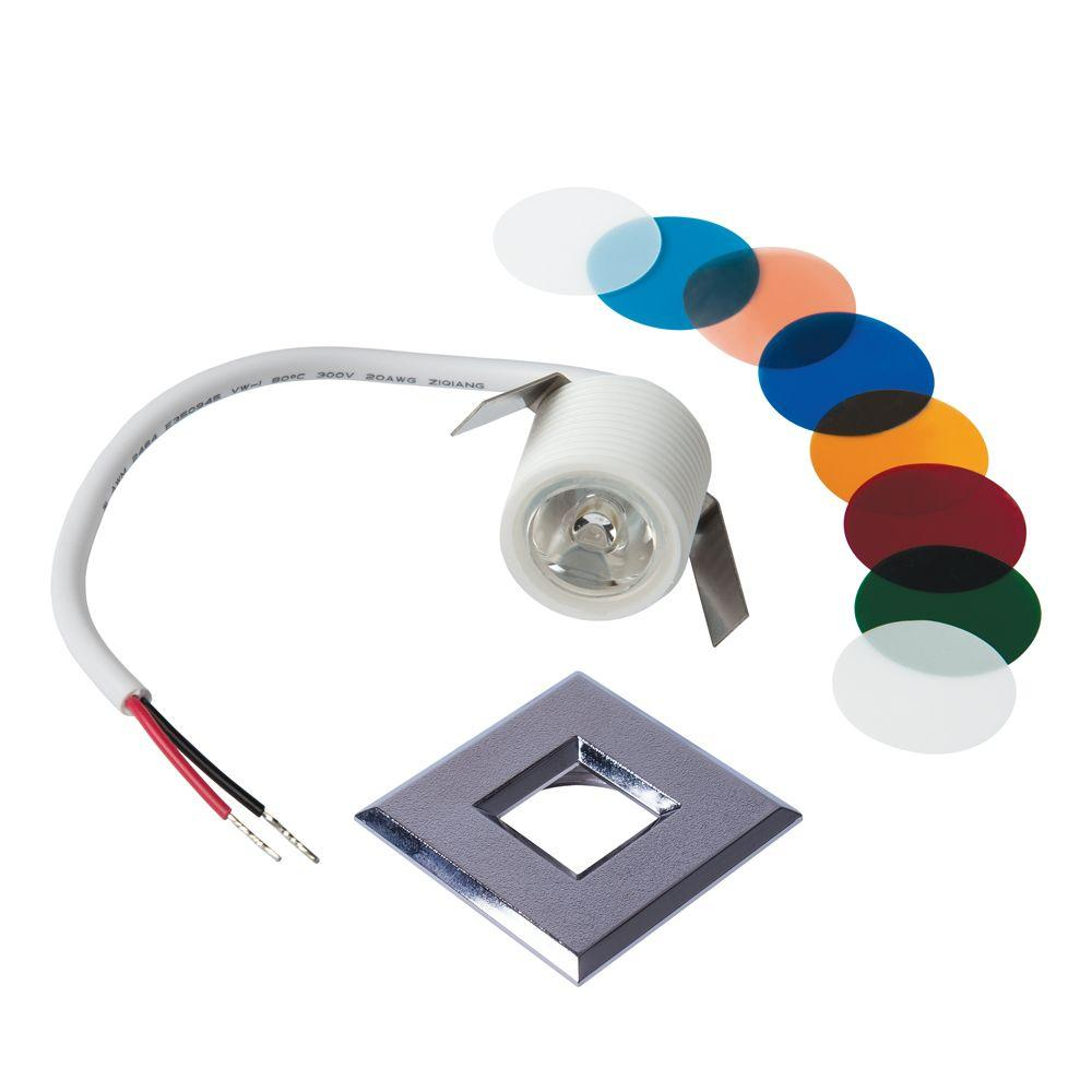 Armacost Lighting Mini Bright White Integrated LED Recessed Puck Light with Square Silver Polycarbonate Trim Ring