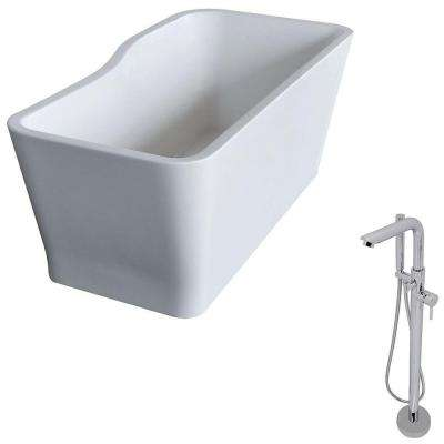 Salva 5.7 ft. Acrylic Classic Freestanding Flatbottom Non-Whirlpool Bathtub in White and Sens Faucet in Chrome