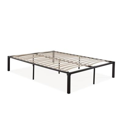 Quick Assembly Queen Black Metal Bed Frame with Wood Slats