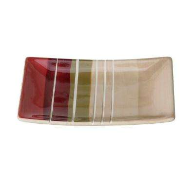 Madison Stripe Ceramic Soap Dish in Red