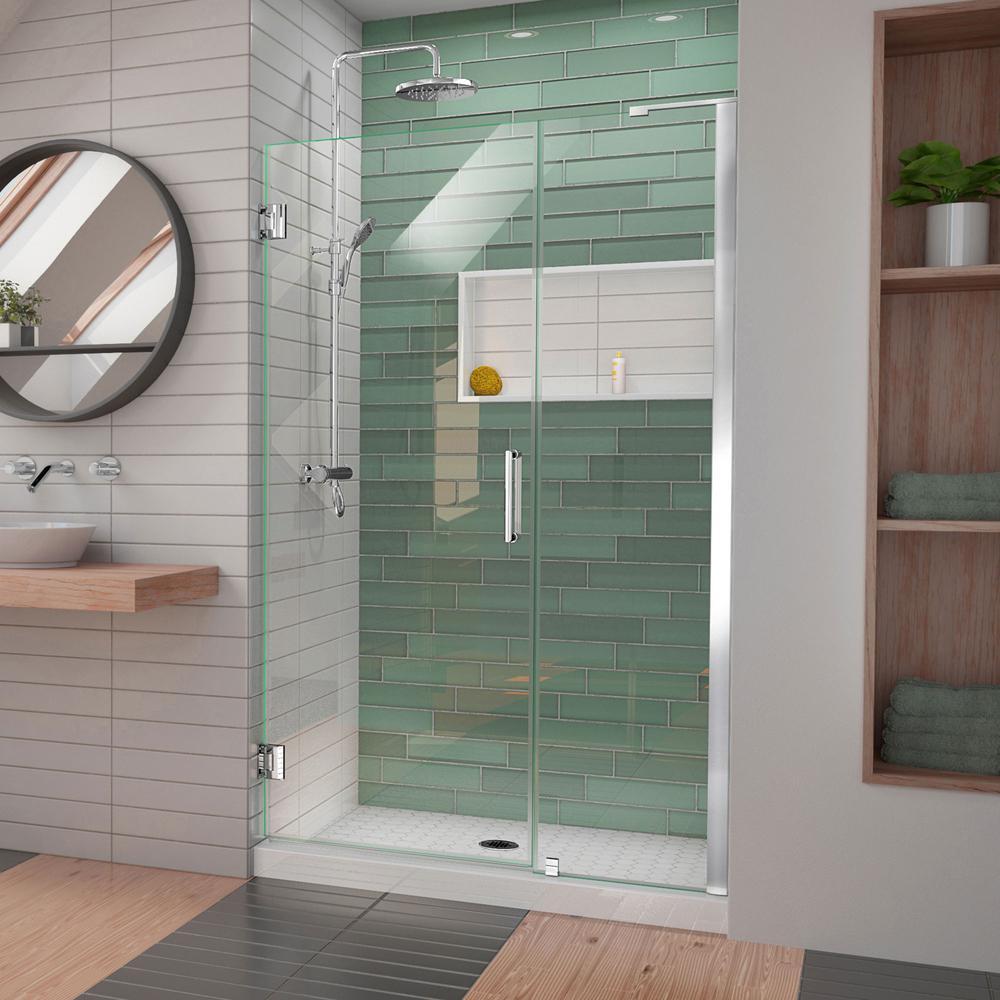 Unidoor-LS 47 in. to 48 in. W x 72 in. H Frameless Hinged Shower Door in Chrome