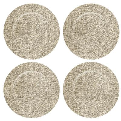 Home Essentials & Beyond 13 in. 4-Piece Glitter Gold Plate Charger Set