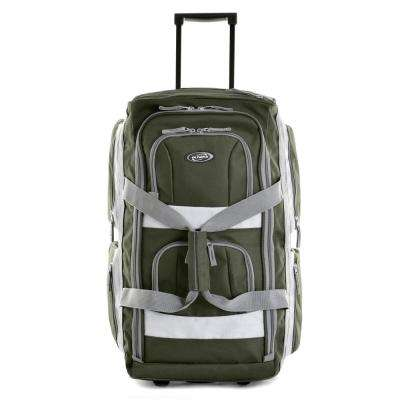 22 in. Green 8-Pocket Rolling Duffel