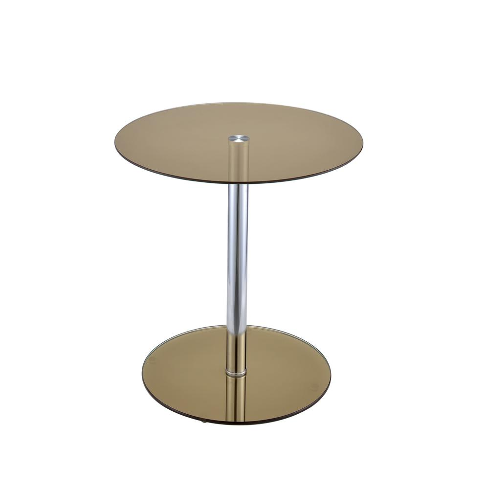 ACME Furniture Halley Smoky Glass And Chrome Side Table
