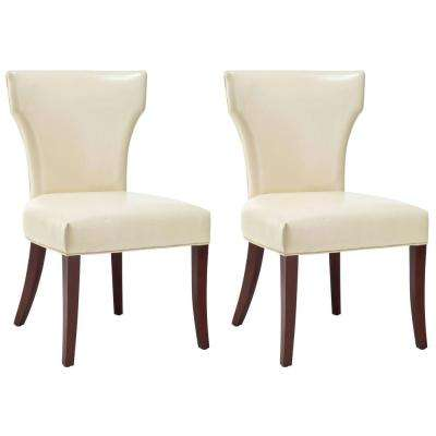 Ryan Flat Cream/Cherry Mahogany Bicast Leather Side Chair (Set of 2)