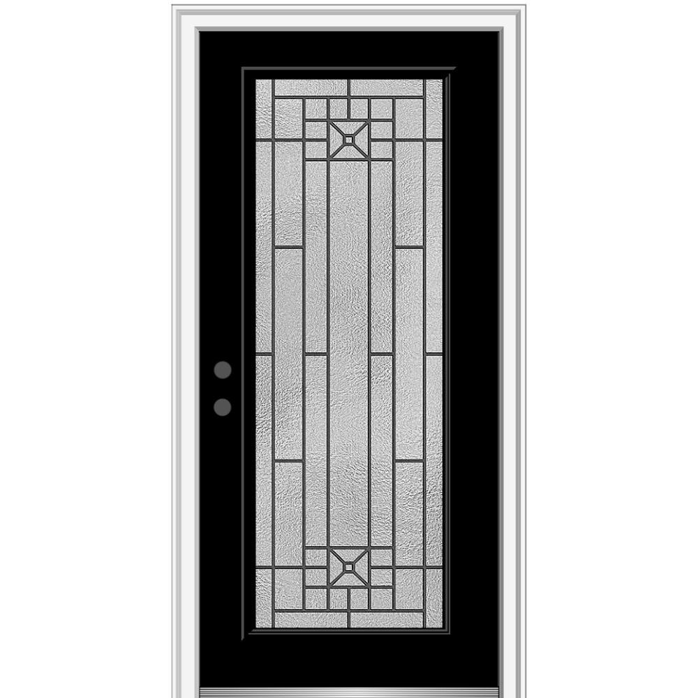 MMI Door 32 in. x 80 in. Courtyard Right-Hand Full Lite Decorative Painted Fiberglass Smooth Prehung Front Door, 6-9/16 in. Frame
