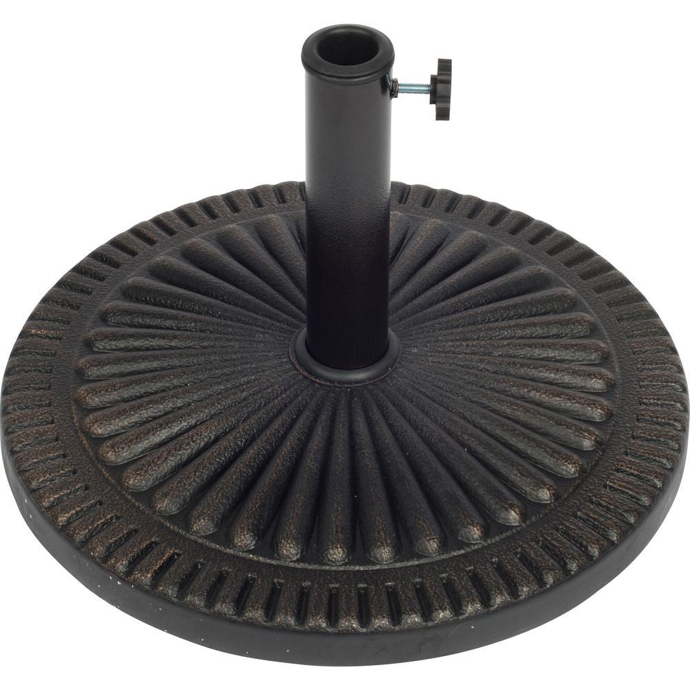 19 in. Dia Starburst Design Resin Patio Umbrella Base in Bronze Finish