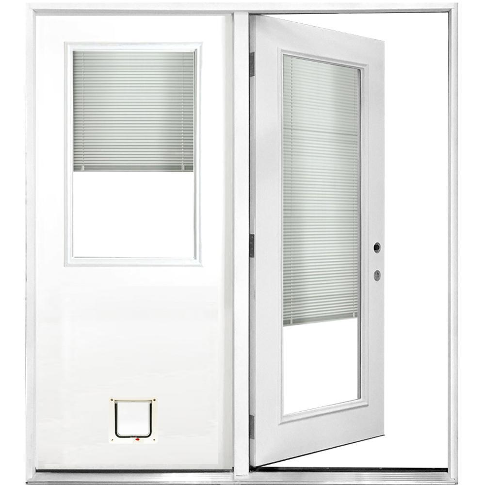 Steves & Sons 60 in. x 80 in. Mini-Blind White Primed Prehung Left-Hand Inswing Fiberglass Center Hinge Patio Door with Cat Pet Door