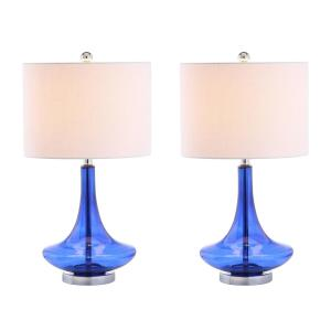 Cecile 25.5 In. Cobalt/Chrome Glass Teardrop Table Lamp (Set Of 2)