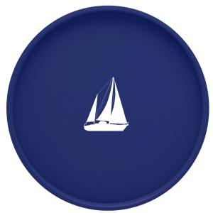 Kraftware Kasualware Sailboat 14 inch Round Serving Tray in Blue by Kraftware