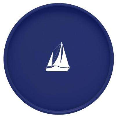Kasualware Sailboat 14 in. Round Serving Tray in Blue