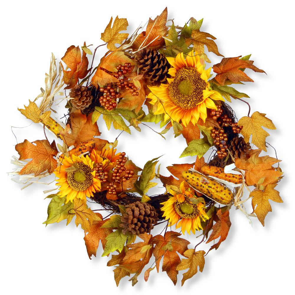 24 in. Maple Leaf and Sunflower Wreath