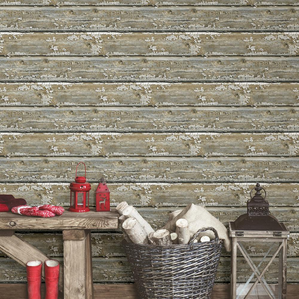 Nuwallpaper planks peel and stick wallpaper roll nu2674 for Paintable peel n stick wallpaper