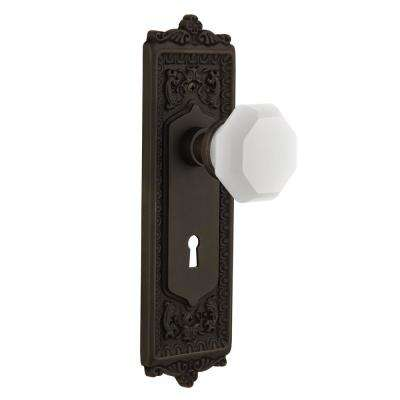 Egg & Dart Plate Interior Mortise Waldorf White Milk Glass Knob in  Oil-Rubbed Bronze - Antique - Entry Door Knobs - Door Knobs - The Home Depot