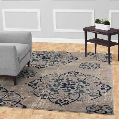 Jasmin Collection Grey 2 ft. 7 in. x 9 ft. 10 in. Floral Medallion Runner Rug