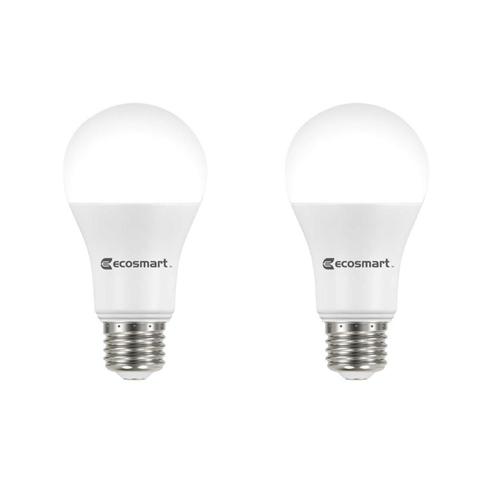 EcoSmart 100-Watt Equivalent A19 Dimmable Energy Star LED Light Bulb Soft White (2-Pack)