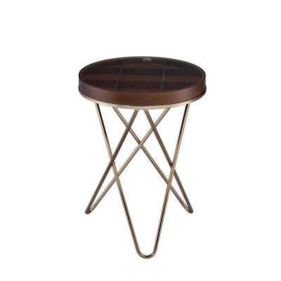 Acme Bage II Walnut and Champagne End Table