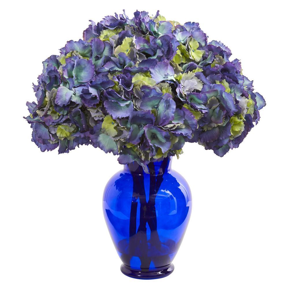 Indoor Hydrangea Artificial Arrangement in Blue Vase