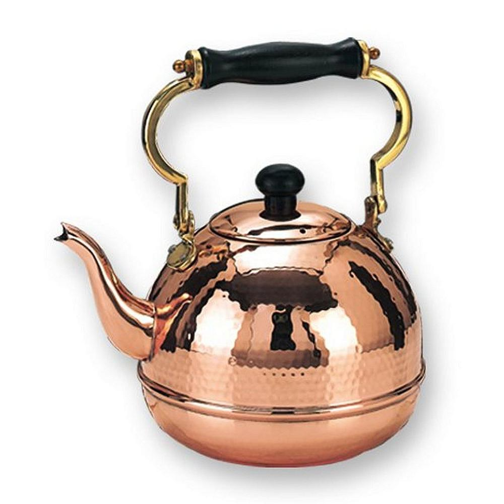 Old Dutch 2 qt. Decor Copper Hammered Tea Kettle with Wood Handle -DISCONTINUED