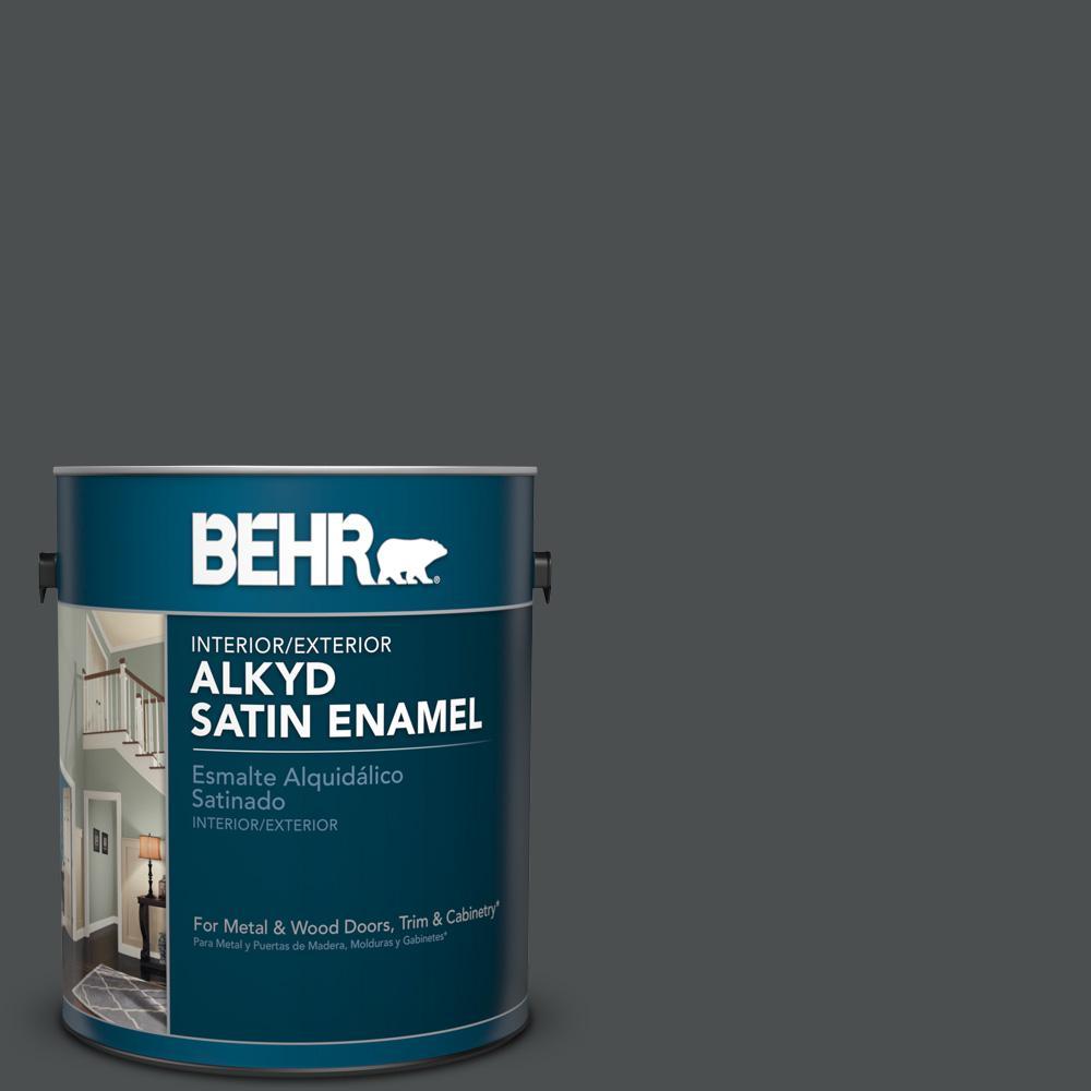 1 gal. #N460-7 Space Black Satin Enamel Alkyd Interior/Exterior Paint