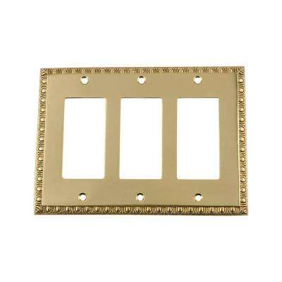 Egg and Dart Switch Plate with Triple Rocker in Polished Brass