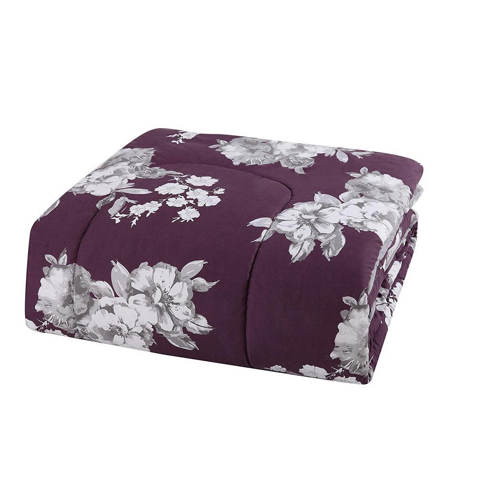 Peony 12-Piece Purple Floral Queen Comforter Set