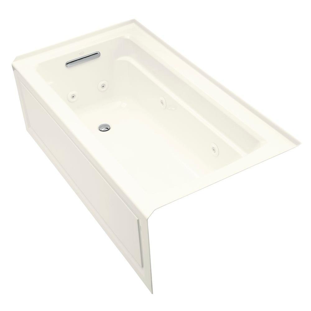 KOHLER Archer 5 ft. Left-Hand Drain Comfort DepthDesign Integral FarmhouseRectangular AlcoveWhirlpool Bathtub Heater in Biscuit