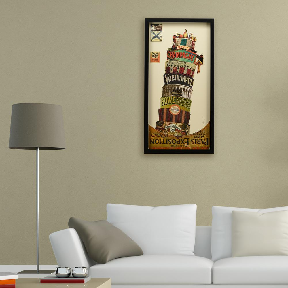 Leaning tower of pisa dimensional collage framed