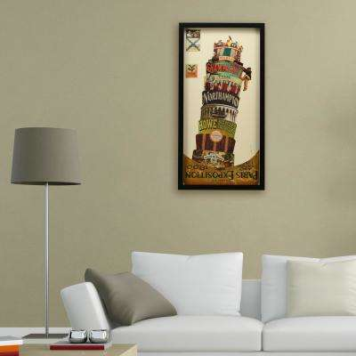 "33 in. x 17 in. ""Leaning Tower of Pisa"" Dimensional Collage Framed Graphic Art Under Glass Wall Art"