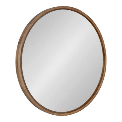 Evans 30 in. x 30 in. Classic Round Framed Rustic Brown Wall Accent Mirror