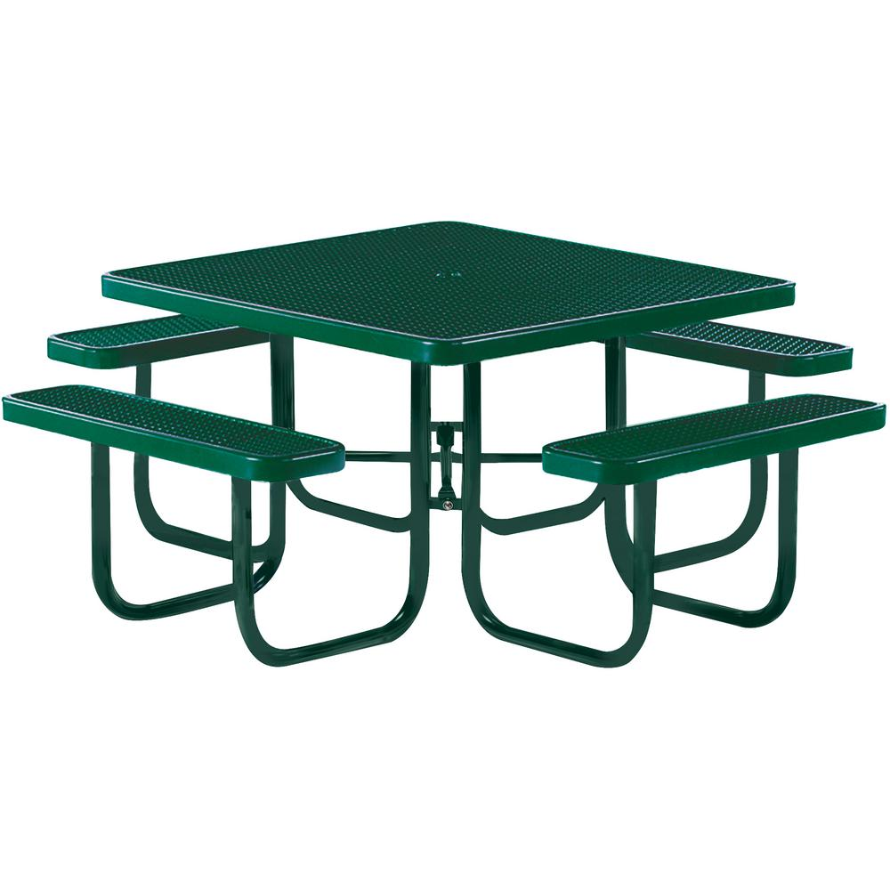 Tradewinds Park 46 in. Green Commercial Square Picnic Table